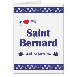 Amo mi St Bernard (el perro masculino) Tarjeta Pequeña