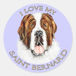 Amo mi St Bernard Pegatina Redonda