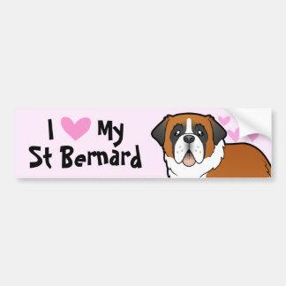 Amo mi St Bernard Pegatina Para Auto