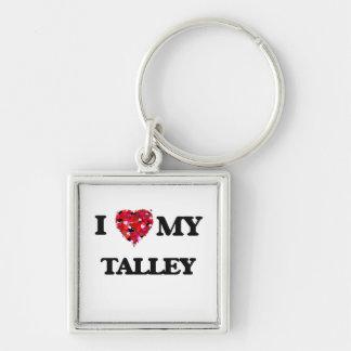 Amo MI Talley Llavero Cuadrado Plateado