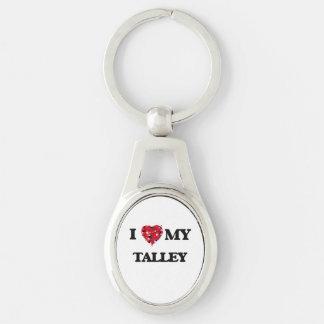 Amo MI Talley Llavero Plateado Ovalado