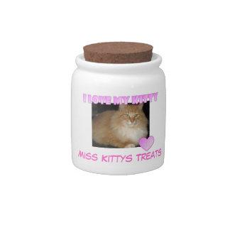 Amo mi tarro de la invitación del gatito platos para caramelos