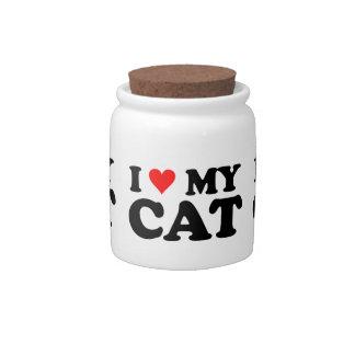 Amo mi tarro de las invitaciones del gatito del ga jarras para caramelos