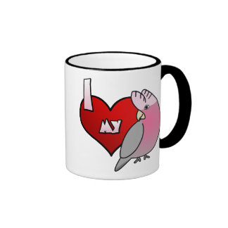 Amo mi taza color de rosa del Cockatoo de Breasted