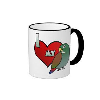 Amo mi taza de bronce de Pionus del ala