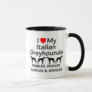 Amo mi taza de cuatro galgos italianos