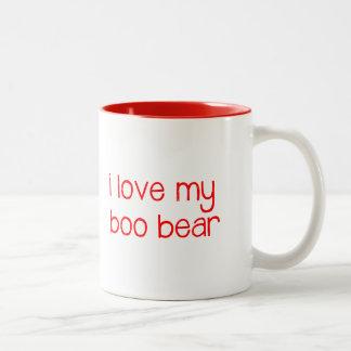 amo mi taza del oso del abucheo - rojo