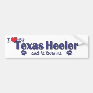 Amo mi Tejas Heeler (el perro masculino) Pegatina Para Auto