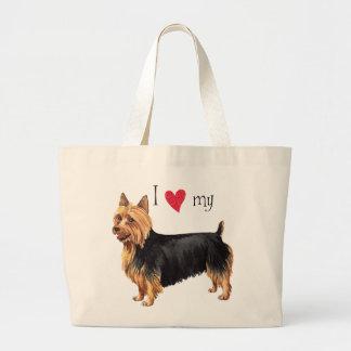 Amo mi Terrier australiano Bolsa De Tela Grande