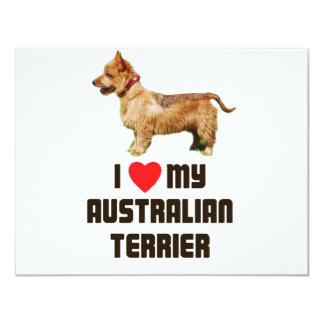 Amo mi Terrier australiano Invitación 10,8 X 13,9 Cm