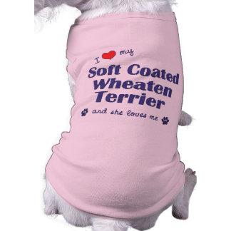 Amo mi Terrier de trigo revestido suave (el perro  Playera Sin Mangas Para Perro