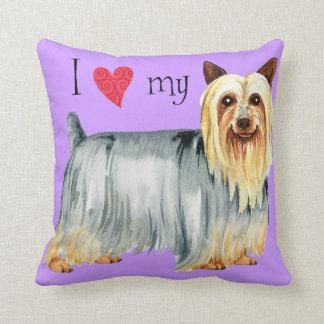 Amo mi Terrier sedoso Cojín Decorativo