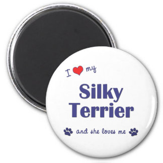 Amo mi Terrier sedoso (el perro femenino) Imanes Para Frigoríficos