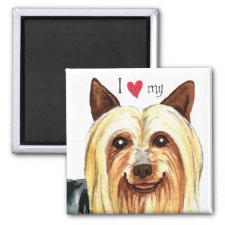 Amo mi Terrier sedoso Imán De Nevera
