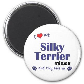 Amo mi Terrier sedoso me mezclo (los perros múltip Imán De Frigorifico