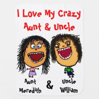 Amo mi tía y tío locos Baby Blanket Mantitas Para Bebé