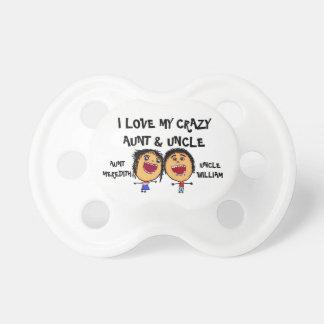 Amo mi tía y tío locos Cartoon Chupetes Para Bebes