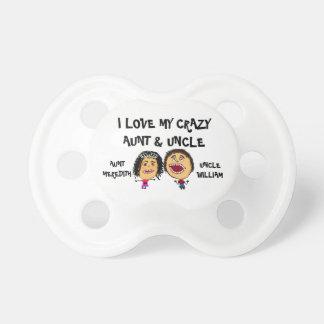 Amo mi tía y tío locos Cartoon Chupetes Para Bebés