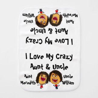 Amo mi tía y tío locos Cartoon Paños De Bebé