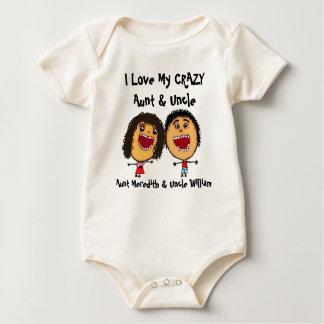 Amo mi tía y tío locos Cartoon Traje De Bebé