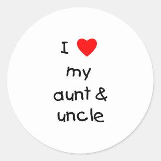 Amo mi tía y tío pegatina redonda