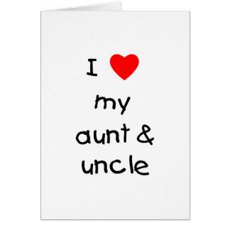 Amo mi tía y tío tarjeta de felicitación