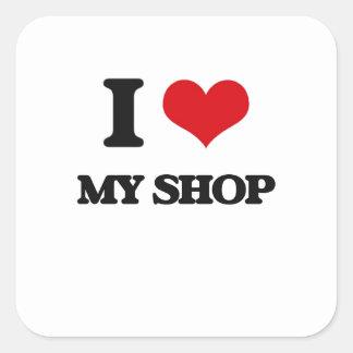 Amo mi tienda pegatina cuadrada