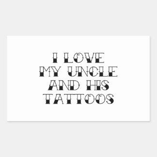 Amo mi tío y sus tatuajes pegatina rectangular
