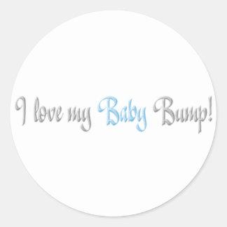 amo mi topetón del bebé - azul pegatinas redondas