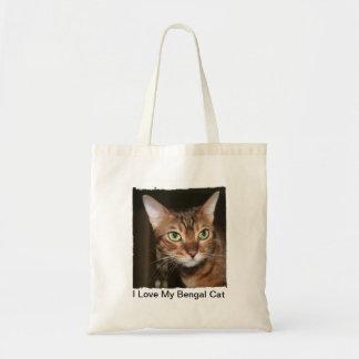 Amo mi tote del gato de Bengala Bolsa De Mano