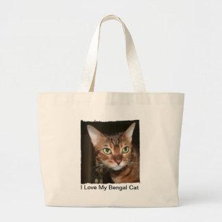 Amo mi tote del gato de Bengala Bolsa Lienzo