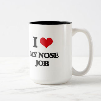 Amo mi trabajo de nariz taza de dos tonos
