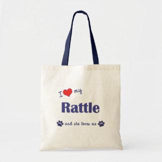 Amo mi traqueteo (el perro femenino) bolsa tela barata