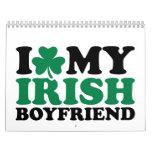 Amo mi trébol irlandés del novio calendario de pared