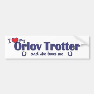 Amo mi trotón de Orlov (el caballo femenino) Pegatina Para Auto