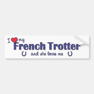 Amo mi trotón francés (el caballo femenino) pegatina para auto