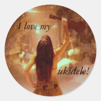 ¡Amo mi ukulele! Pegatina Redonda