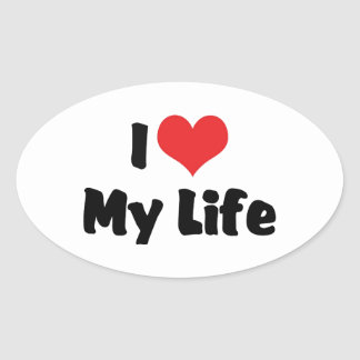 Amo mi vida pegatina de oval personalizadas