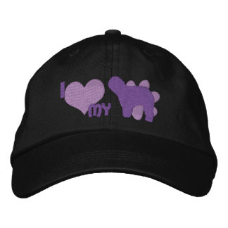 Amo mi vieja púrpura inglesa del perro pastor gorra de beisbol