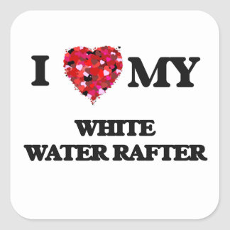 Amo mi viga del agua blanca pegatina cuadrada