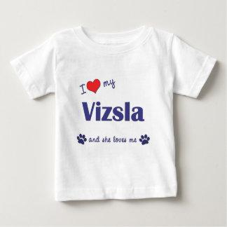 Amo mi Vizsla (el perro femenino) Playera De Bebé