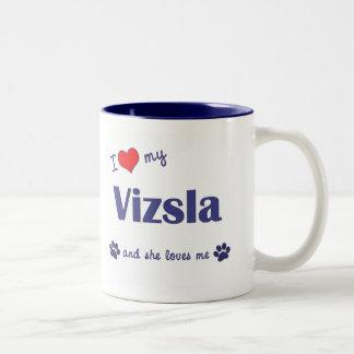 Amo mi Vizsla (el perro femenino) Taza De Café