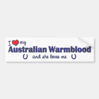 Amo mi Warmblood australiano (el caballo femenino) Pegatina Para Auto