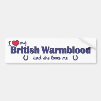 Amo mi Warmblood británico (el caballo femenino) Pegatina Para Auto