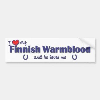 Amo mi Warmblood finlandés (el caballo masculino) Pegatina Para Auto