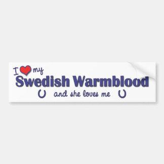 Amo mi Warmblood sueco (el caballo femenino) Pegatina De Parachoque