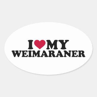 Amo mi Weimaraner Pegatina Ovalada