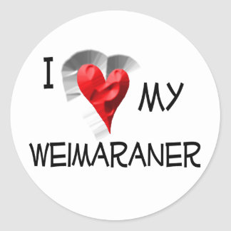 Amo mi Weimaraner Pegatina Redonda