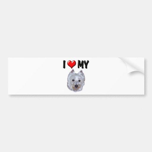 Amo mi Westie 2 Etiqueta De Parachoque
