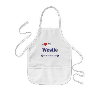 Amo mi Westie (el perro femenino) Delantal Infantil
